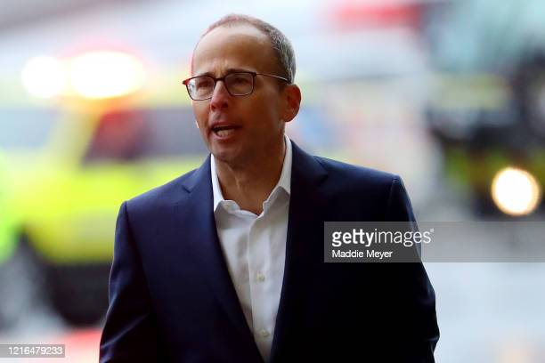 Jonathan Kraft President of the New England Patriots walks the tarmac as the Patriots plane delivers N95 masks from Shenzhen China to Logan...
