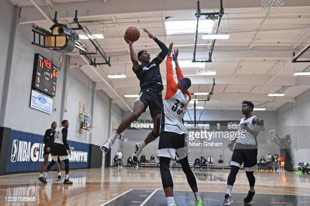 Jonathan Kuminga of Team Ignite drives to the basket during an NBA G League Practice and Scrimmage on November 22, 2020 at Ultimate Fieldhouse in...