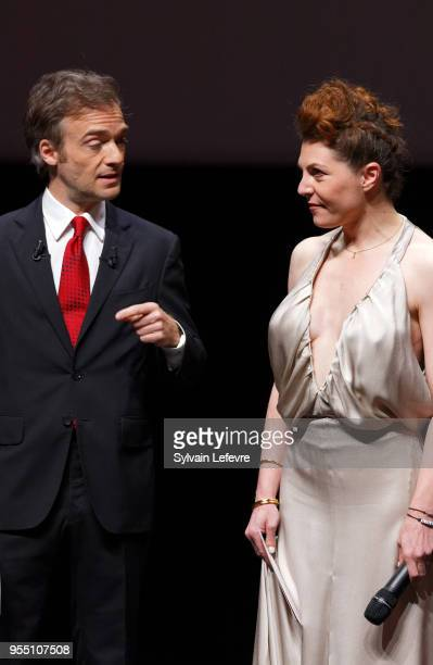 Jonathan Lambert and actress AnneElisabeth Blateau poses with fans as she attends closing ceremony of Series Mania Lille Hauts de France festival on...