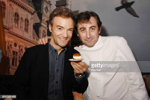 Jonathan Lambert and pastry Chef Jean francois Foucher attend the 'Apero Gouter' Cocktail Hosted by Le Grand Seigneur Magazine at Bistrot Marguerite...