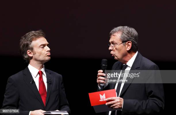 Jonathan Lambert and writer Pierre Lemaitre attend closing ceremony of Series Mania Lille Hauts de France festival on May 5 2018 in Lille France