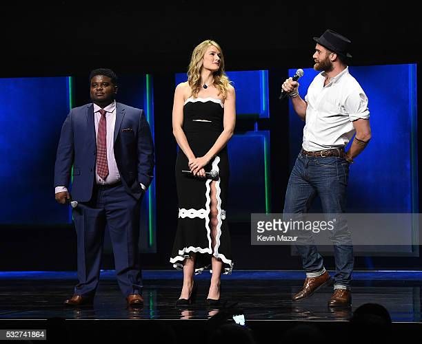 Jonathan Langdon Tori Anderson and Joshua Sasse speak on stage during The CW Network's 2016 Upfront at New York City Center on May 19 2016 in New...