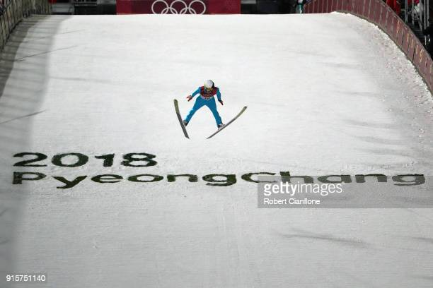 Jonathan Learoyd of France competes in the Men's Normal Hill Individual Qualification at Alpensia Ski Jumping Centre on February 8 2018 in...