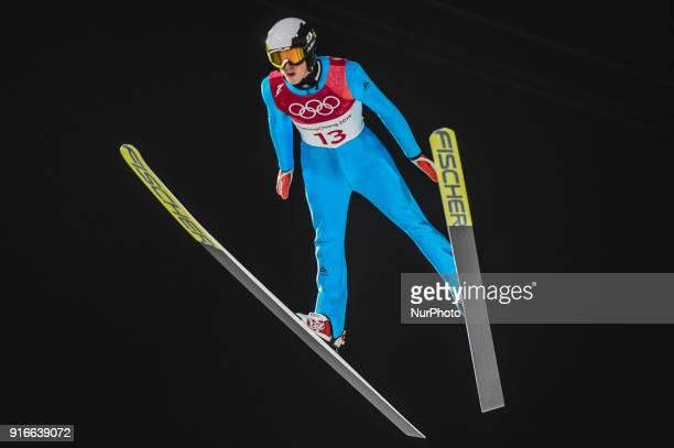 Jonathan Learoyd ofFrance at mens normal hill final at 2018 Pyeongchang winter olympics at Alpensia Ski Jumping Centre Pyeongchang South Korea on...