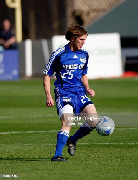 Jonathan Leathers of the Kansas City Wizards dribbles against the Colorado Rapids during the game at Community America Ballpark on April 5, 2008 in...