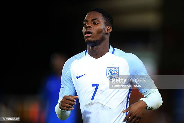 Jonathan Leko of England U18 during the U18 International Friendly match between England and France at London Road Stadium on November 14 2016 in...