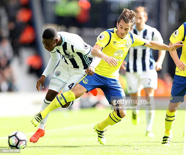Jonathan Leko of West Bromwich Albion and Leighton Baines of Everton during the Premier League match between West Bromwich Albion and Everton at The...
