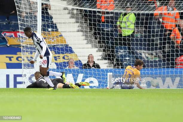 Jonathan Leko of West Bromwich Albion celebrates after scoring a goal to make it 10 during the Carabao Cup Second Round match between West Bromwich...