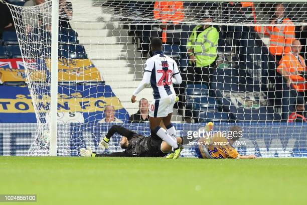 Jonathan Leko of West Bromwich Albion scores a goal to make it 10 during the Carabao Cup Second Round match between West Bromwich Albion and...