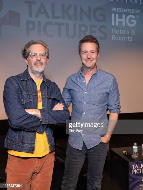 Jonathan Lethem and Edward Norton attend the Talking Pictures screening of Motherless Brooklyn during the 31st Annual Palm Springs International Film...