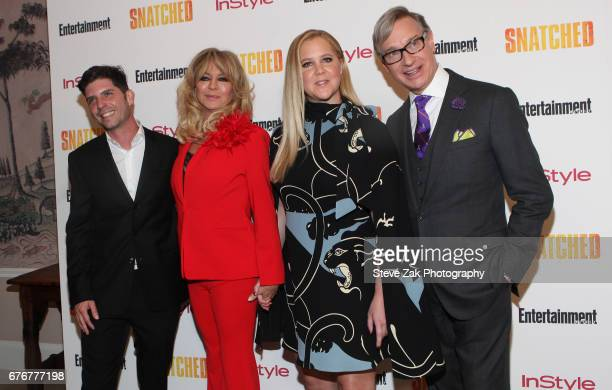 Jonathan Levine Goldie Hawn Amy Schumer and Paul Feig attend the 'Snatched' New York Premiereat the Whitby Hotel on May 2 2017 in New York City