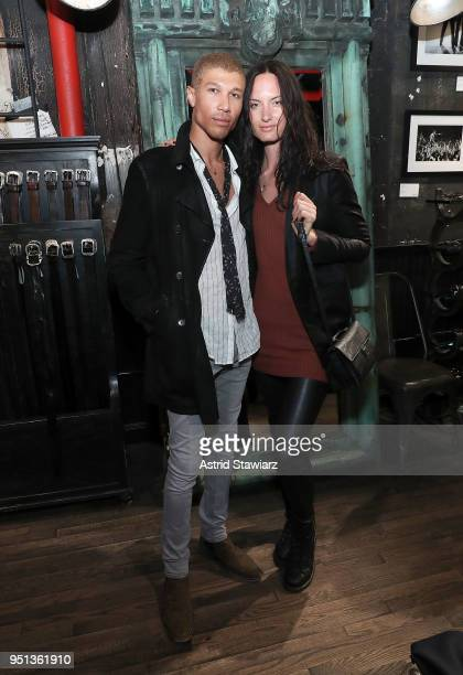 Jonathan Lewis and Monique Weingart attend the John Varvatos New York trunk show/personal appearance on April 25 2018 in New York City