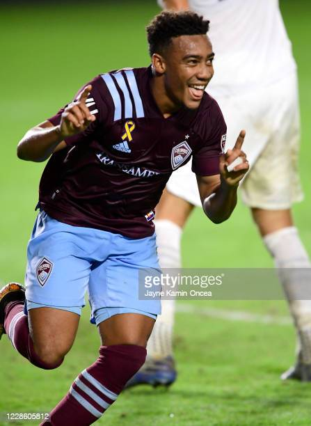 Jonathan Lewis of Colorado Rapids celebrates after scoring a goal in the second half of the game against the Los Angeles Galaxy at Dignity Health...