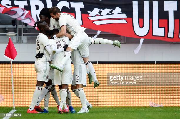 Jonathan Lewis of Colorado Rapids celebrates with his teammates after scoring the game winning goal against the DC United in the second half at Audi...