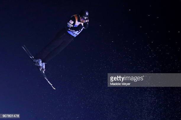 Jonathan Lillis of the United States jumps during the Mens Qualifying round of the Putnam Freestyle World Cup at the Lake Placid Olympic Ski Jumping...