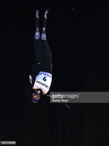 Jonathan Lillis of the United States jumps in the Mens' Qualifying round during the Putnam Freestyle World Cup at the Lake Placid Olympic Ski Jumping...