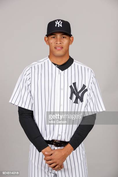Jonathan Loaisiga of the New York Yankees poses during Photo Day on Wednesday February 21 2018 at George M Steinbrenner Field in Tampa Florida
