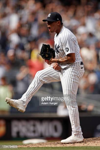 Jonathan Loaisiga of the New York Yankees reacts after the last out against the Boston Red Sox in the seventh inning during game one of a...