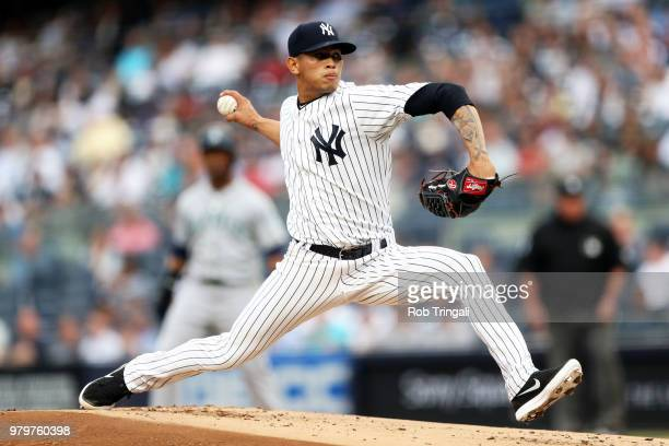 Jonathan Loaisiga pitches in his second start for the New York Yankees against the Seattle Mariners at Yankee Stadium on Wednesday June 20 2018 in...