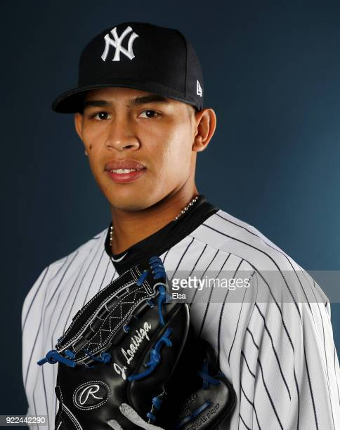 Jonathan Loaisiga#89 of the New York Yankees poses for a portrait during the New York Yankees photo day on February 21 2018 at George M Steinbrenner...