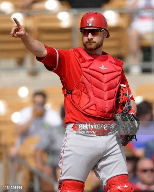 Jonathan Lucroy of the Los Angeles Angels looks on against the Chicago White Sox on March 4 2019 at Camelback Ranch in Glendale Arizona