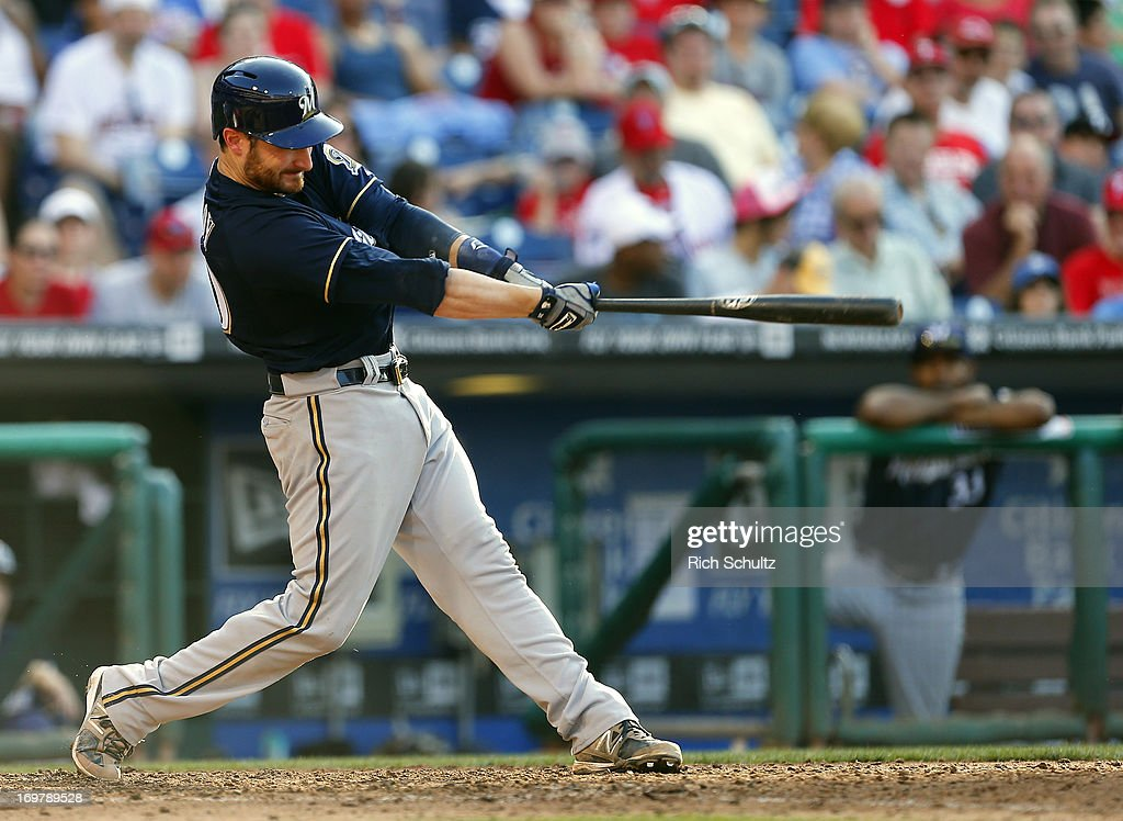 Jonathan Lucroy #20 of the Milwaukee Brewers hits a home run in the eighth inning in a MLB baseball game against the Philadelphia Phillies on June 1, 2013 at Citizens Bank Park in Philadelphia, Pennsylvania. The Brewers defeated the Phillies 4-3.