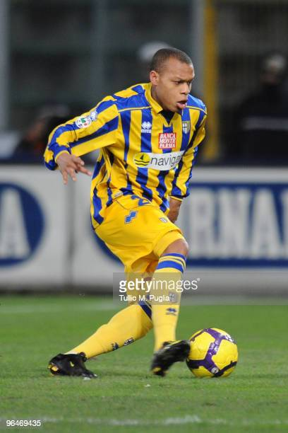 Jonathan Ludovic Biabiany of Parma in action during the Serie A match between Palermo and Parma at Stadio Renzo Barbera on February 6, 2010 in...