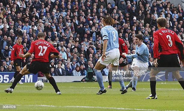 Jonathan Macken of Manchester City scores their second goal during the FA Barclaycard Premiership match between Manchester City and Manchester United...