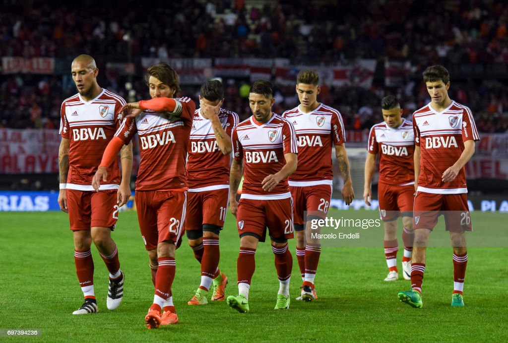 Jonathan Maidana, Leonardo Ponzio, Sebastian Driussi, Milton Casco and Ignacio Fernandez River Plate leave the field at the end of the first half during a match between River Plate and Racing Club as part of Torneo Primera Division 2016/17 at Monumental Stadium on June 18, 2017 in Buenos Aires, Argentina.