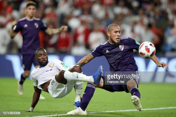 Jonathan Maidana of River Plate blocks a shot from Tongo Doumbia of Al Ain during the FIFA Club World Cup UAE 2018 Semi Final Match between River...