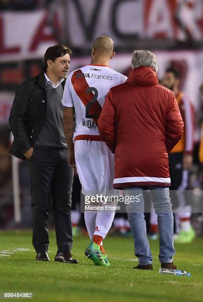 Jonathan Maidana of River Plate leaves the field after being injured during a match between River Plate and Aldosivi as part of Torneo Primera...