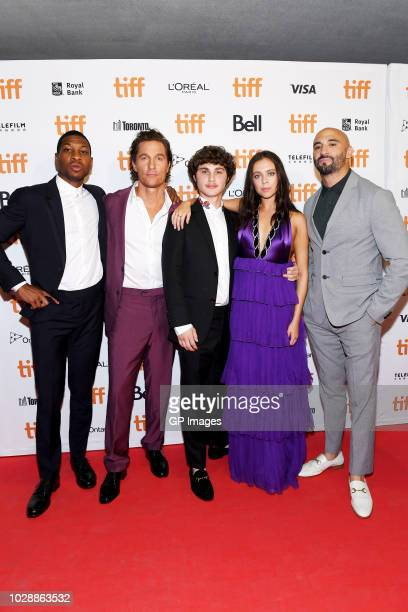 "Jonathan Majors, Matthew McConaughey, Richie Merritt, Bel Powley and Yann Demange attend the ""White Boy Rick"" premiere during 2018 Toronto..."