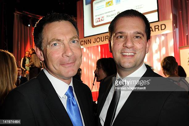 Jonathan Mann and Hannes Heyelmann attend the CNN Journalist Award 2012 at the GOP Variete Theater on March 27, 2012 in Munich, Germany.