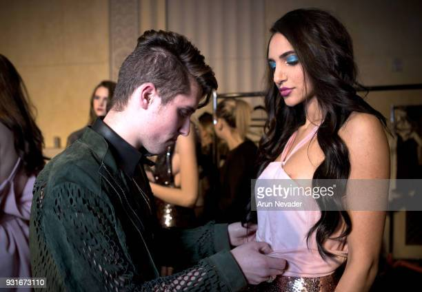 Jonathan Marc Stein backstage with a model at Los Angeles Fashion Week Powered by Art Hearts Fashion LAFW FW/18 10th Season Anniversary Backstage and...
