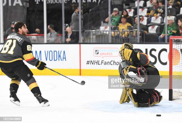 Jonathan Marchessault and Marc-Andre Fleury of the Vegas Golden Knights warm up prior to Game Six of the Second Round of the 2021 Stanley Cup...