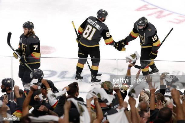 Jonathan Marchessault and Reilly Smith of the Vegas Golden Knights celebrate after they assisted Nate Schmidt on a secondperiod goal against the...