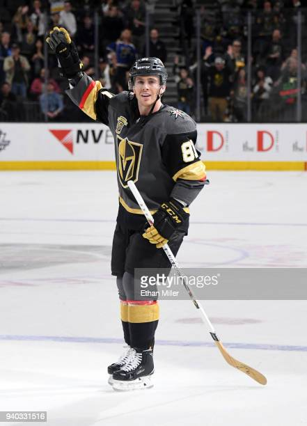 Jonathan Marchessault of the Vegas Golden Knights acknowledges fans after being named the first star of the game after he scored in overtime in the...