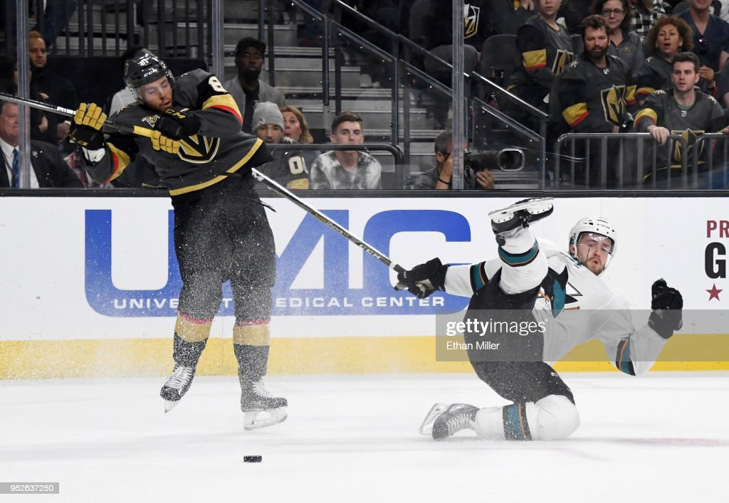 Jonathan Marchessault #81 of the Vegas Golden Knights and Chris Tierney #50 of the San Jose Sharks collide in the third period of Game Two of the Western Conference Second Round during the 2018 NHL Stanley Cup Playoffs at T-Mobile Arena on April 28, 2018 in Las Vegas, Nevada. The Sharks won 4-3 in double overtime.
