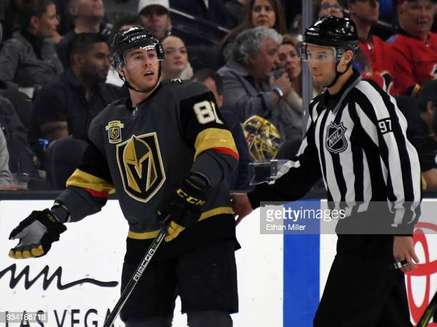 Jonathan Marchessault of the Vegas Golden Knights argues with linesman Kory Nady after Marchessault received a twominute minor penalty for...