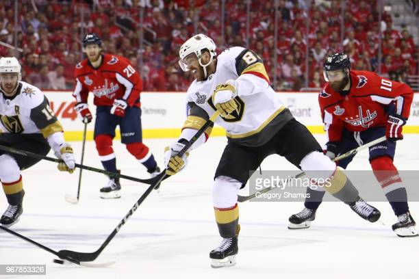 Jonathan Marchessault of the Vegas Golden Knights carries the puck against the Washington Capitals during the first period in Game Four of the 2018...