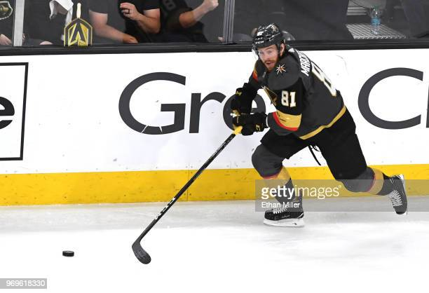 Jonathan Marchessault of the Vegas Golden Knights carries the puck against the Washington Capitals during the first period in Game Five of the 2018...