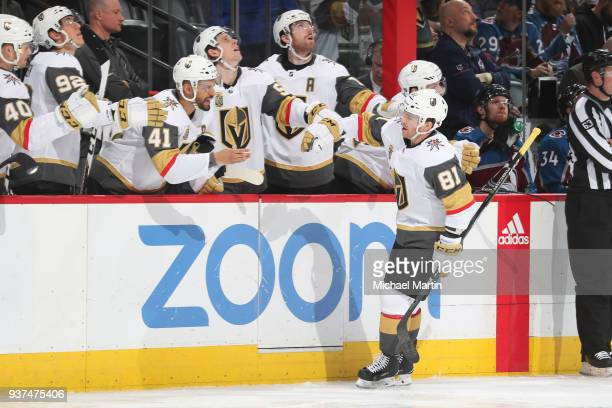 Jonathan Marchessault of the Vegas Golden Knights celebrates a goal against the Colorado Avalanche with his bench at the Pepsi Center on March 24...