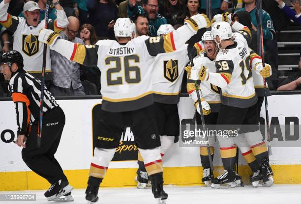 Jonathan Marchessault of the Vegas Golden Knights celebrates after scoring a goal during the third period against the San Jose Sharks in Game Seven...