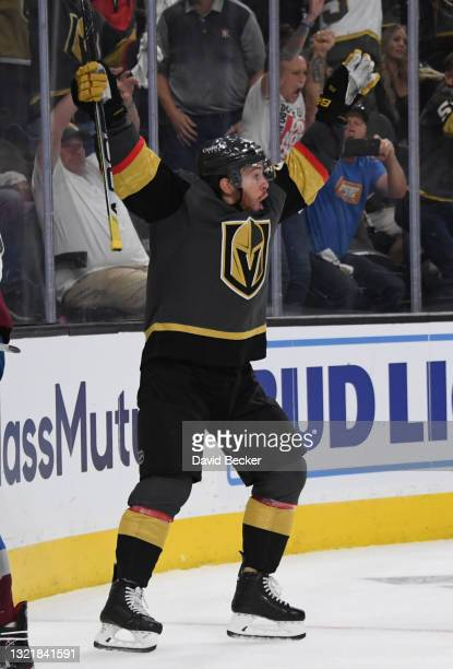 Jonathan Marchessault of the Vegas Golden Knights celebrates after scoring a goal during the third period against the Colorado Avalanche in Game...