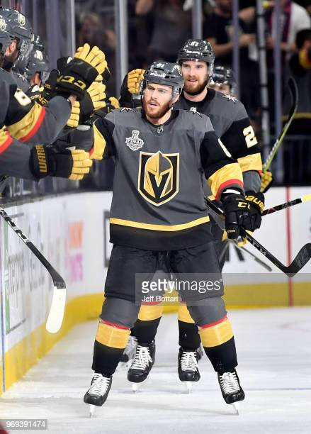 Jonathan Marchessault of the Vegas Golden Knights celebrates after a goal by Nate Schmidt during the second period against the Washington Capitals in...