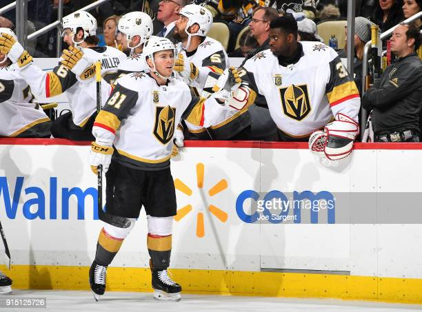 Jonathan Marchessault of the Vegas Golden Knights celebrates his goal with the bench during the third period against the Pittsburgh Penguins at PPG...