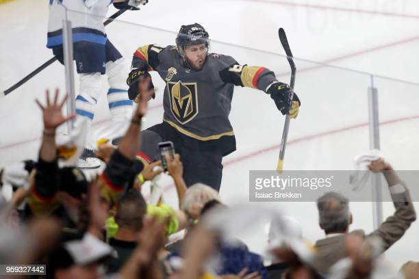 Jonathan Marchessault of the Vegas Golden Knights celebrates his firstperiod goal against the Winnipeg Jets in Game Three of the Western Conference...