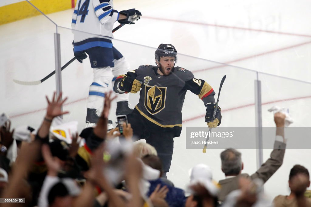 Jonathan Marchessault #81 of the Vegas Golden Knights celebrates his first-period goal against the Winnipeg Jets in Game Three of the Western Conference Finals during the 2018 NHL Stanley Cup Playoffs at T-Mobile Arena on May 16, 2018 in Las Vegas, Nevada.