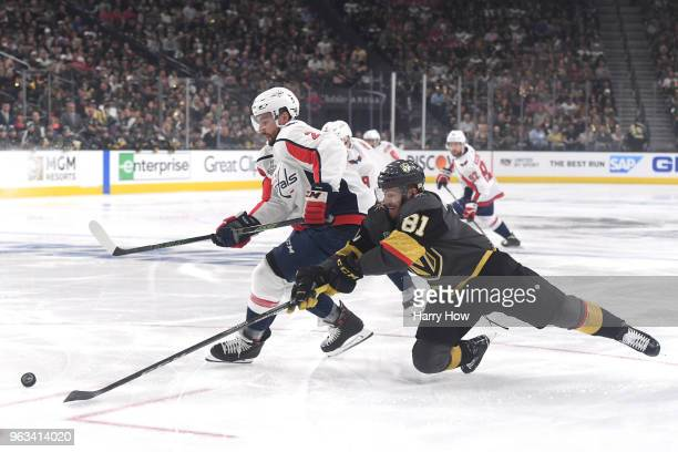 Jonathan Marchessault of the Vegas Golden Knights defends Matt Niskanen of the Washington Capitals during the first period in Game One of the 2018...