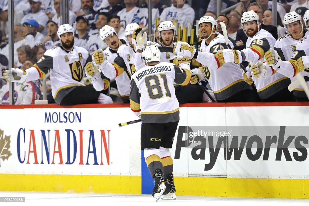 Jonathan Marchessault #81 of the Vegas Golden Knights is congratulated by his teammates after scoring a first period goal against the Winnipeg Jets in Game Two of the Western Conference Finals during the 2018 NHL Stanley Cup Playoffs at Bell MTS Place on May 14, 2018 in Winnipeg, Canada.